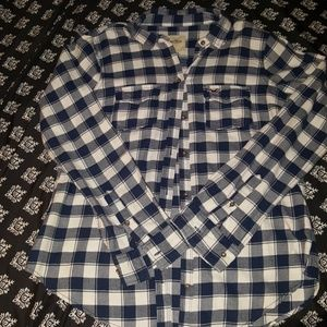 L Navy and White Hollister Flannel EUC